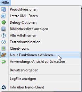 Version 1.9.5 des Clients für das trend-ERP-System – Programmaufruf von »neue Funktionen aktivieren« im Hilfemenü