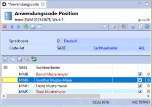 Anwendungscode-Position Listenansicht