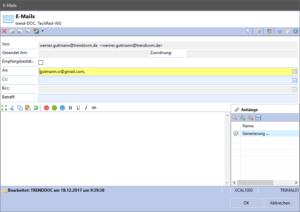 Darstellung der Benutzerschnittstelle | Neukonzeption des E-Mail-Versands aus trend-ERP