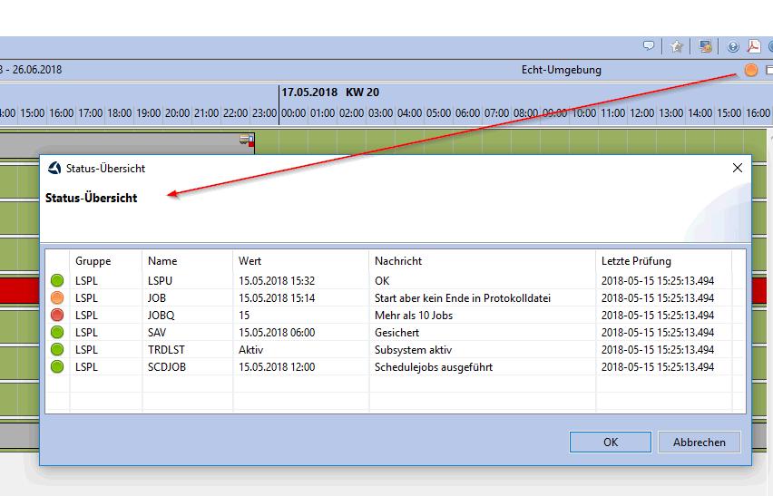 Statusübersicht über das ERP-Systems in Version 1.9.10 des Clients für das trend-ERP-System
